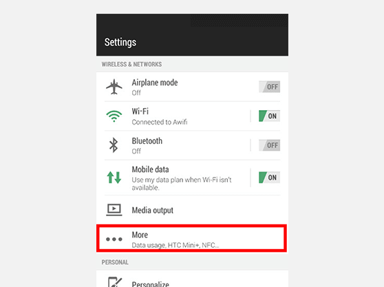 PPTP VPN for Android Settings screen