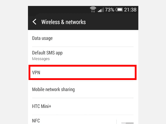 Create PPTP VPN connection on  Android | Wireless and Networks screen