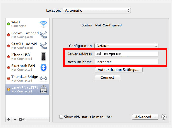 How to create L2TP VPN connection on Mac OS X