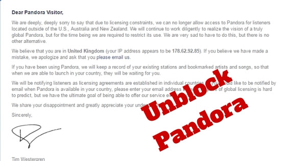 unblock pandora outside US with VPN