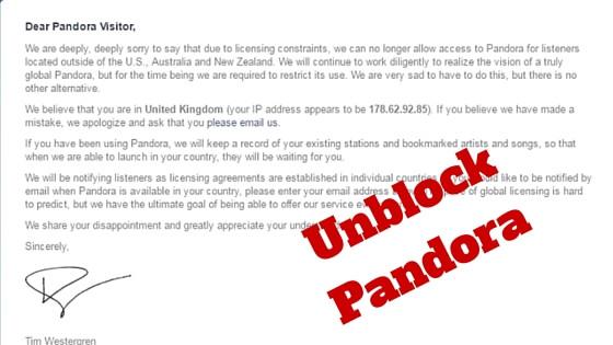 unblock pandora
