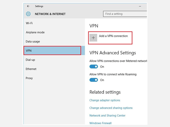 Setting up L2TP VPN on Windows 10 Network and Internet Window